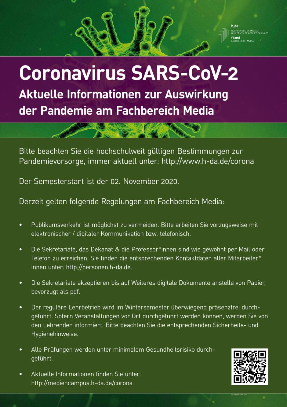 Infoplakat zum Hygienekonzept am Mediencampus